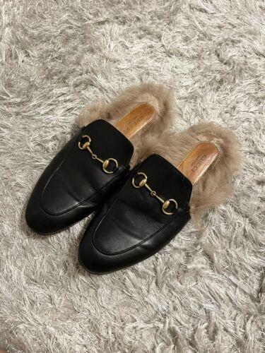 716-36 Black Fur Mules size 6