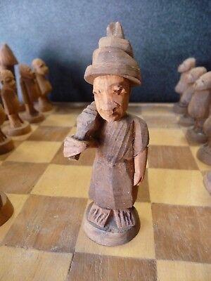 Schachspiel Schach Afrika 50er Jahre Schnitzerei Teak Vintage Ethno Kunst