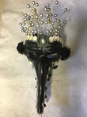 Authentic hand-crafted Venetian mask, wearable, decorated by USA artist
