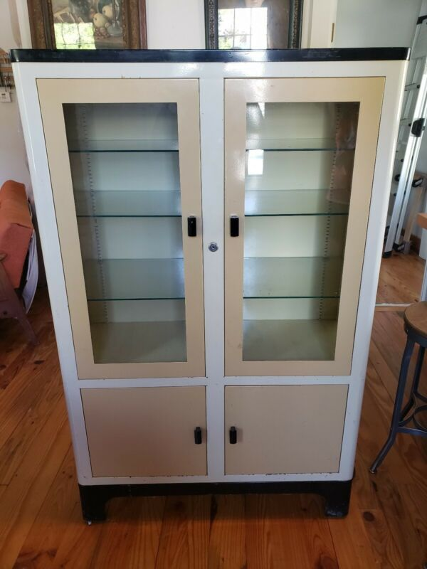 Vintage Metal Medical or Dental Cabinet  Apothecary...Aloe Co. Saint Louis MO