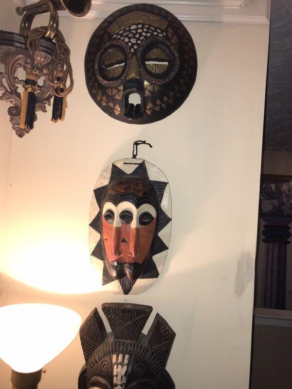 Hardwood African Mask Wall Decor