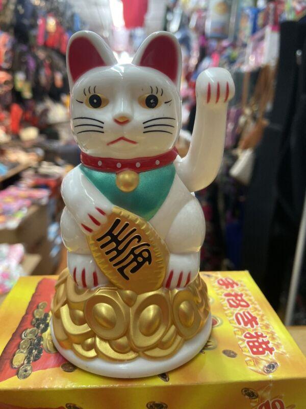 Fortune Lucky White Cat Kitten Feng Shui Wealth Waving Maneki Beckoning 4.5 Inch