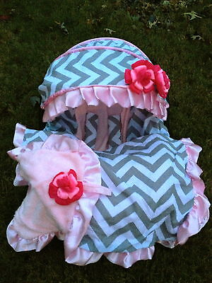 fluffy infant car seat cover canopy cover Blanket headband fit most infant seat