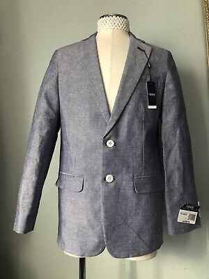 Boys Linen Blazer (NWT Izod $90 Blue BASKETWEAVE Blazer/Suit Jacket/Sport Coat Boys 14)