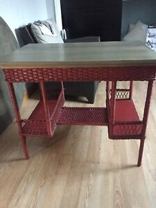 Wicker and wood top table