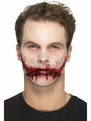 Stitched Smile Halloween Fake Prosthetic Latex Scar Fancy Dress Zombie Make Up - Halloween Makeup Smile