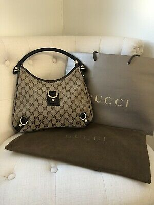 Gucci Brown Canvas GG Abbey Bag With Dustbag