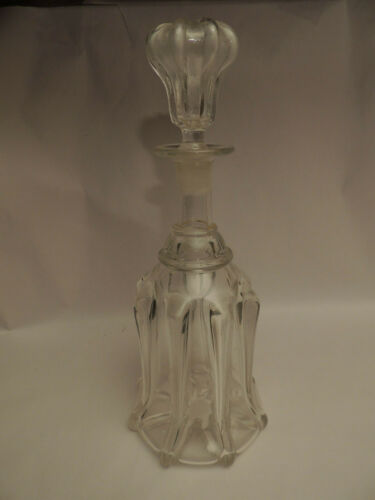 Antique 19th C. Victorian Mould Blown Glass Newcastle Style Pillar Decanter