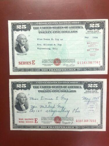1945 US WAR $25 Savings Bond, Series E, WWII,  &  1954 $25 Savings Bond,Series E