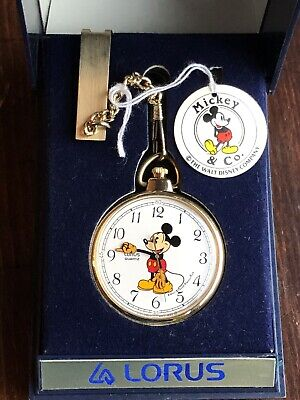 Vintage 1980's Mickey Mouse By Lorus Quartz Pocket Watch With Chain And Box 36mm