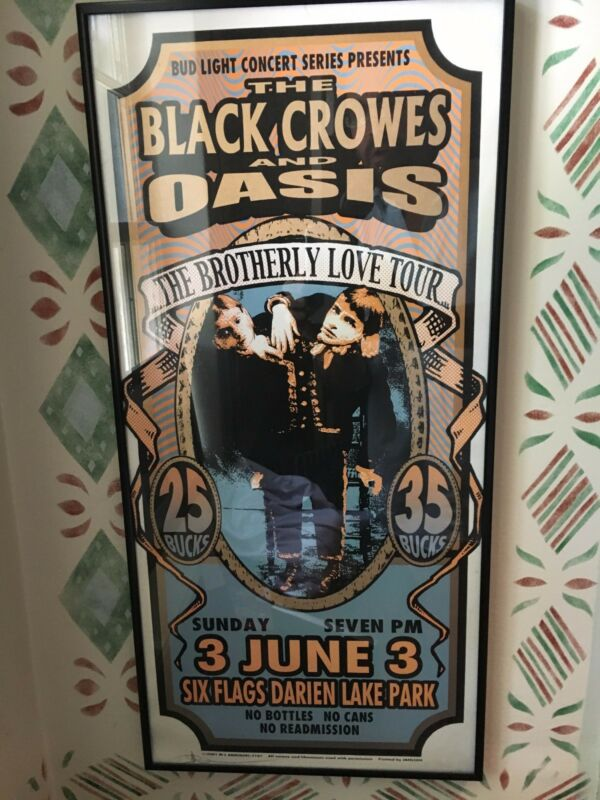 Black Crowes and OASIS Brotherly Love 2001 Signed Poster Framed