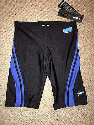 Boys Speedo Power flex Jammers Shorts Racing Swimsuit $49 Black Blue 28