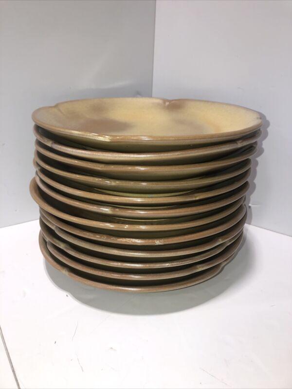 """Lot Of 12 Frankoma 5f Plainsman Desert Gold 10"""" Dinner Plates Vintage"""