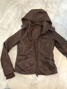 Garage Rebel hooded brown leather jacket - Reduced