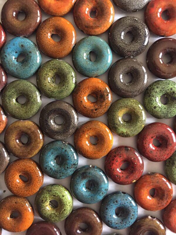30 Blue Red Orange Brown Green Mix Ceramic Donut Porcelain Beads 18mm Raku Bead