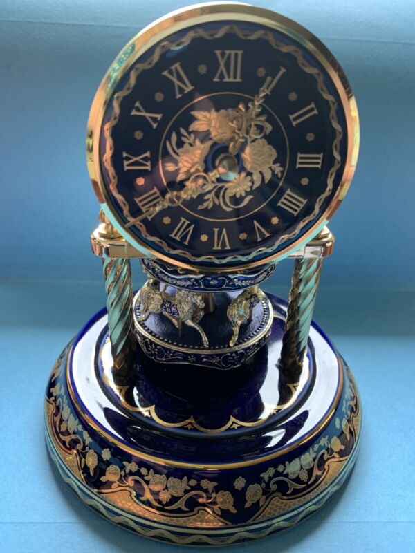 Anniversary Cobalt Blue Porcelain Dome Clock With Non Working Carousel KeepsTime