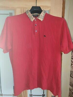 Burberry mens XL Polo shirt cotton Red