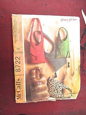 Vtg sewing pattern 1967 McCalls 8722 Sling Bags Hobo