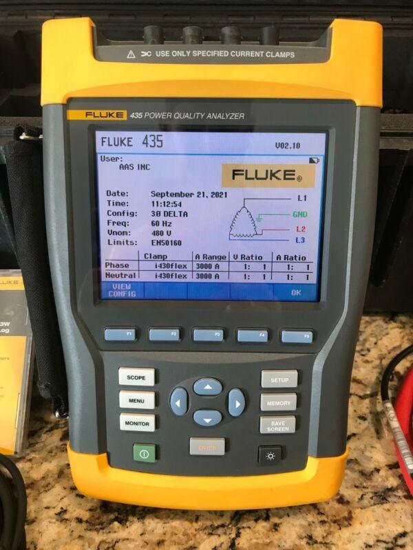Fluke 435 Three Phase Power Quality Analyzer w/ i430 flex clamps, software, case