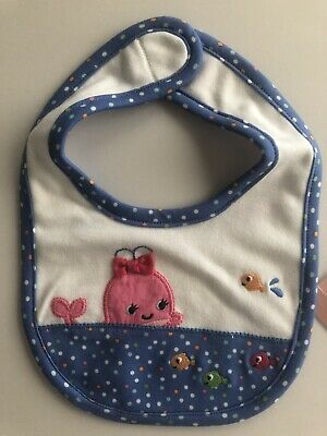 NEW GYMBOREE Baby Girl Bib OS One Size BUBBLY WHALE Blue Dot Pink Whale NWT