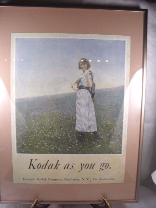 1920 EASTMAN KODAK PICTURE AD LANDSCAPE GIRL FRAMED PHOTOGRAPHY CAMERA VINTAGE