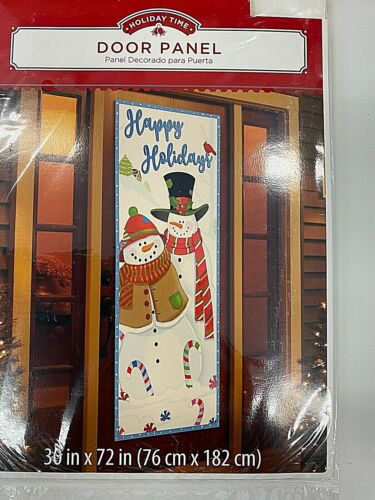 """Happy Holiday with snowmen winter door cover 30"""" x 72"""" party decor"""