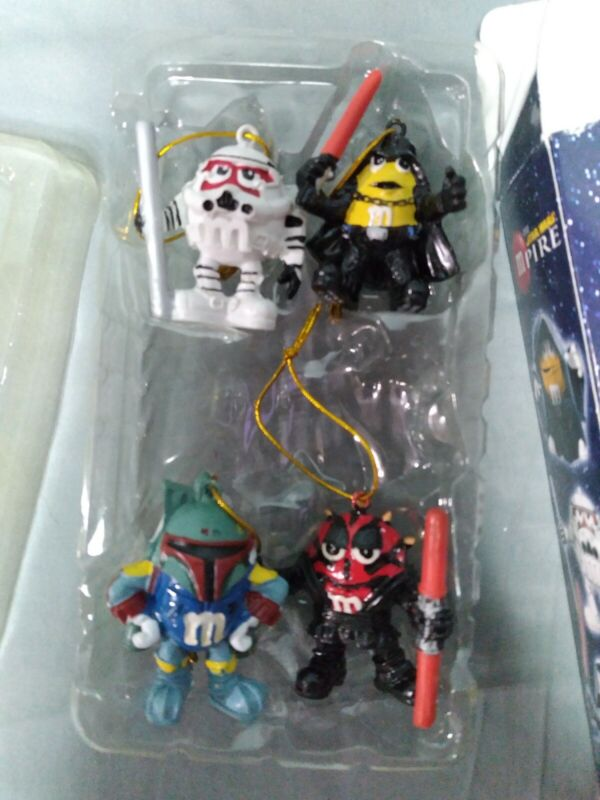 Set of 4 Star Wars MPire The Dark Side M&Ms Christmas Holiday Ornament 2006