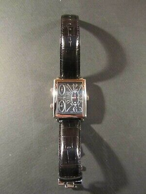 Stuhrling Original Ladies Genuine Leather Dress Watch - Black/Silver