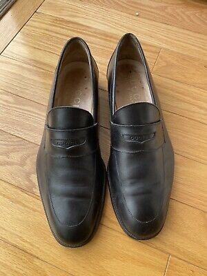 Vintage Men's Authentic Gucci Black Leather Loafers Size 42.5 E