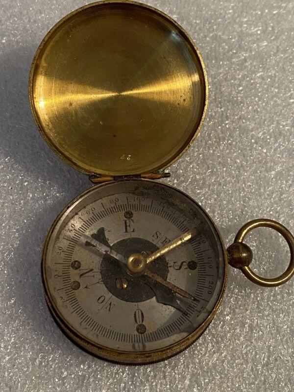 Antique Brass Military WW2 Compass WWII Pocket Compass