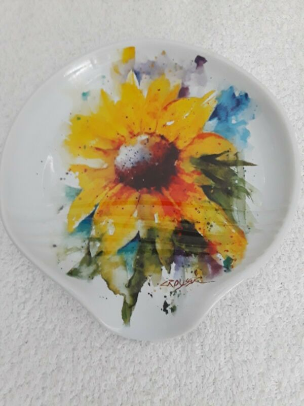 2017 Dean Crouser Colorful  Watercolor Sunflower Spoon Rest