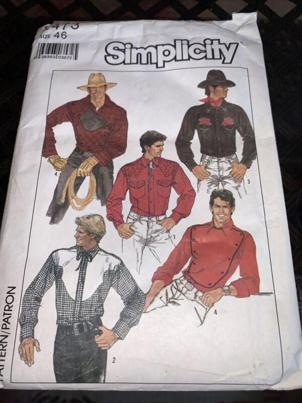 Vtg Simplicity Sew Pattern 8473 Mens Western Shirt Rodeo Yoke Cowboy Snaps 46