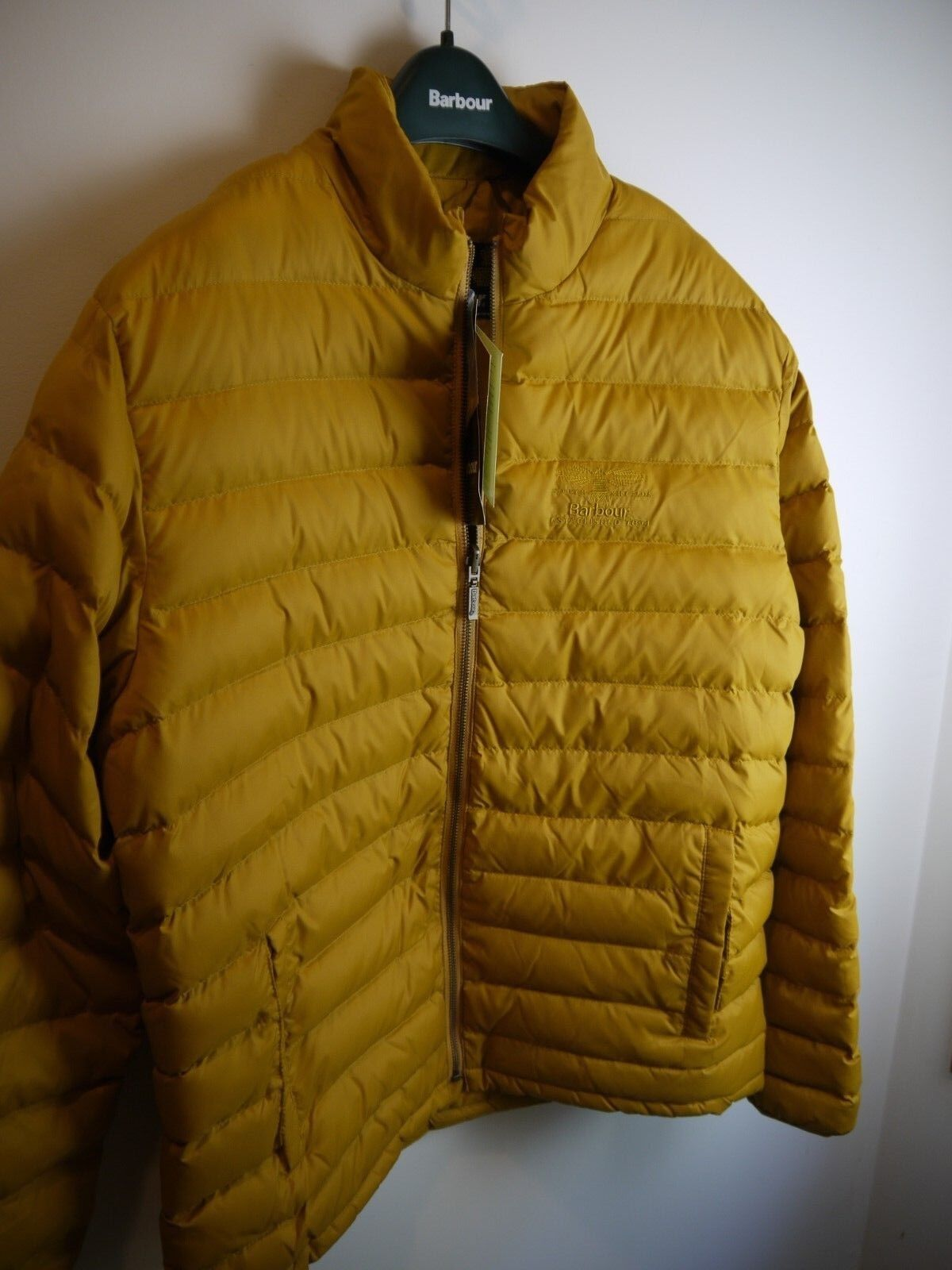 d3231df37170c BARBOUR Mens Templand Quilted Puffer Jacket Yellow New With Tags XL