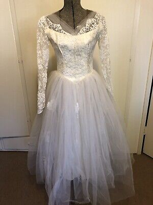 Vintage 50's Lace Tulle  Applique Wedding Dress Gown Tea Length Rockabilly XS