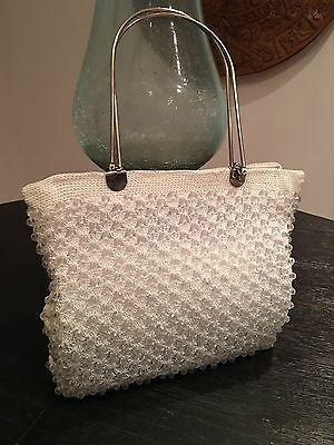 NWOT Knitted Beaded White Bag With Metal Handle Hand Bag,wedding, Vintage Look Bead Knitted Bags