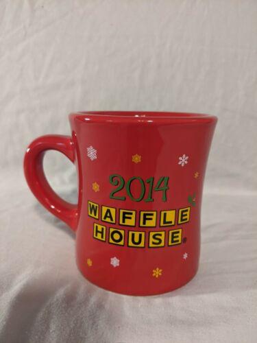 2014 Waffle House Snowman Peace Joy Waffles Red Coffee Mug/Cup Tuxton