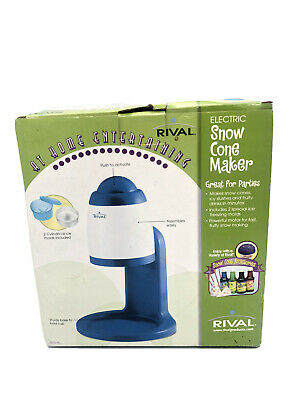Rival Electric Snow Cone Maker Shaved Ice Blue White New Open Box
