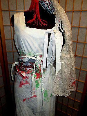 Zombie Wedding Dress (Corpse ZOMBIE BRIDE HALLOWEEN VINTAGE WEDDING DRESS S-M Veil Unique Custom)