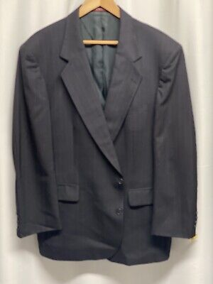 Stanley Blacker Couture Mens Suit 48L Navy Blue Pinstripe Wool Vintage 1990's Mens Navy Pinstripe Wool Suit