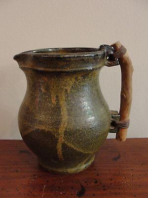 Joel Edwards ? American Studio Art Pottery Pitcher with Wood Handle