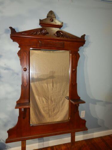 Antique Victorian Walnut Dresser Vanity Mantle Hall Carved Mirror