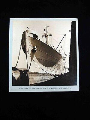 """1940s Edw STEICHEN-type Silver PHOTOGRAPH-Docked NAVY SHIP """"BANTAN"""" awaits cargo"""