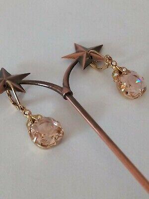 Kirks Folly Crystal Leverback Earrings Gold Tone