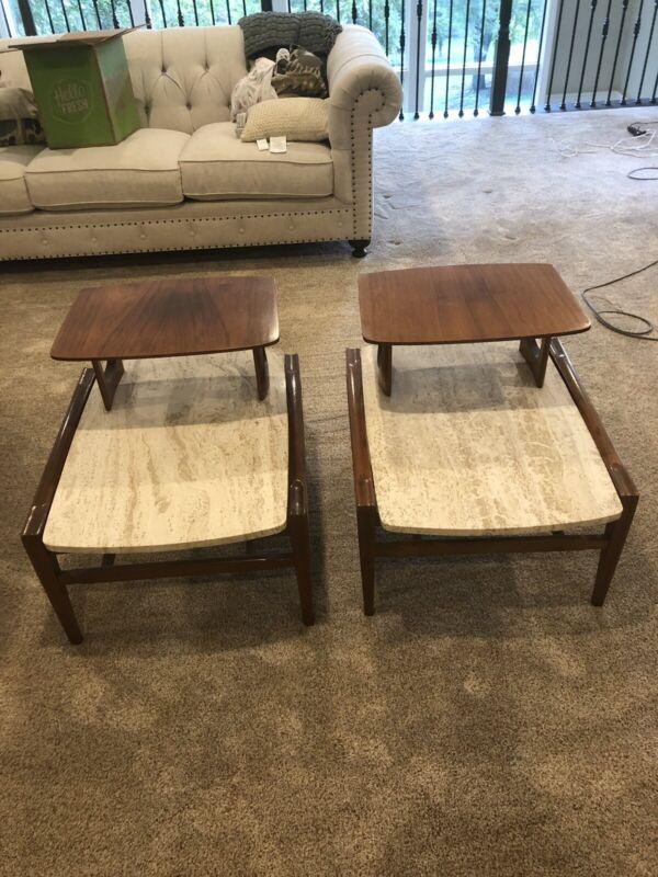 Gordon Fine Furniture Travertine Walnut End Tables Attributed to Bertha Schaefer