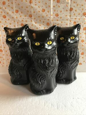 """Blow Mold Halloween Black Cats Decoration Yellow Eyes 11"""" Union Lot Of 3"""