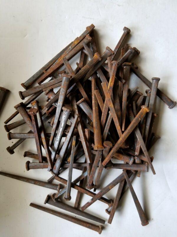 "100 Heavy Duty Antique 3"" Steel Square Cut Head Nails Rusty Lot Original Spikes"