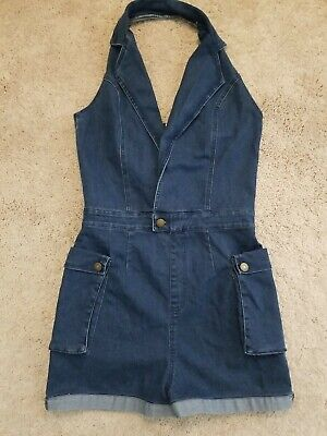 Vintage Overalls & Jumpsuits Denim Halter Romper Jean Overalls CARGO Pockets Womens Size M $19.90 AT vintagedancer.com