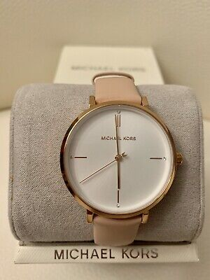 NWT MK7102 Michael Kors Rose Gold Pink Leather Band White Dial Watch  MSRP $150