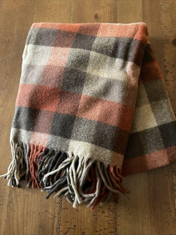 Pendleton pure wool burnt orange Plaid blanket 100% Wool