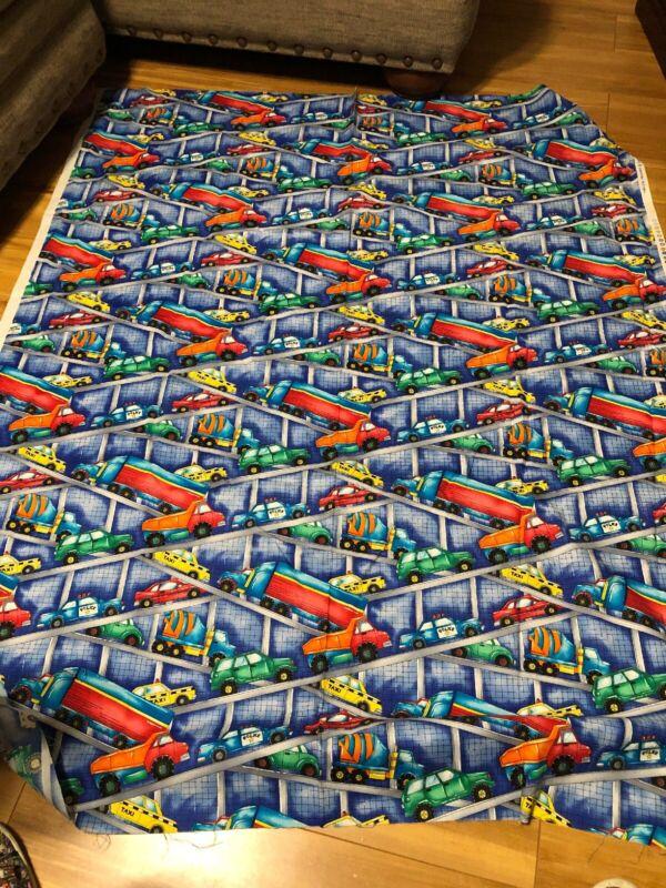 "Timeless Treasures Kidz C3477 Cars Trucks Heavy Equipment Fabric 1.5 Y X 44"""